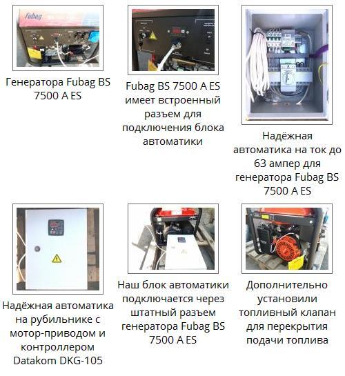 Установка надёжной автоматики на генератор Fubag BS 7500 A ES через штатный разъем генератора